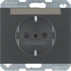 47387006 SCHUKO socket outlet with labelling field,  enhanced contact protection,  Berker K.1, anthracite matt,  lacquered