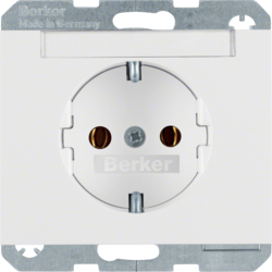 47397009 SCHUKO socket outlet with labelling field,  Berker K.1, polar white glossy