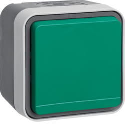 47403523 SCHUKO socket outlet with green hinged cover surface-mounted Berker W.1, grey/light grey matt