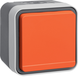 47403527 SCHUKO socket outlet with orange hinged cover surface-mounted Berker W.1, grey/light grey matt