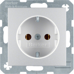 47431404 SCHUKO socket outlet aluminium,  matt,  lacquered