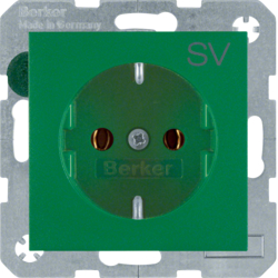 "47431903 SCHUKO socket outlet with ""SV"" imprint Berker S.1/B.3/B.7, green matt"
