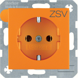 "47431907 SCHUKO socket outlet with ""ZSV"" imprint orange matt"