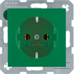 47431913 SCHUKO socket outlet Berker S.1/B.3/B.7, green matt