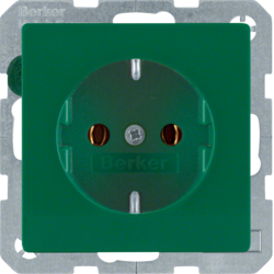 47436013 SCHUKO socket outlet Berker Q.1/Q.3, green velvety