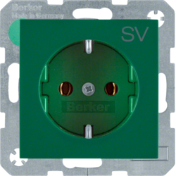 "47438903 SCHUKO socket outlet with ""SV"" imprint Berker S.1/B.3/B.7, green glossy"