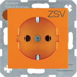 "47438907 SCHUKO socket outlet with ""ZSV"" imprint Berker S.1/B.3/B.7, orange glossy"