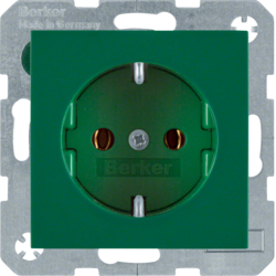 47438913 SCHUKO socket outlet Berker S.1/B.3/B.7, green glossy