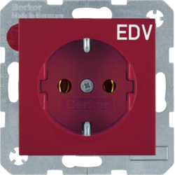 "47438922 SCHUKO socket outlet with ""EDV"" imprint Berker S.1/B.3/B.7, red glossy"