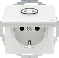 47446049 SCHUKO socket outlet with hinged cover for accessible construction with tactile symbol,  enhanced contact protection,  Mounting orientation variable in 45° steps,  polar white velvety