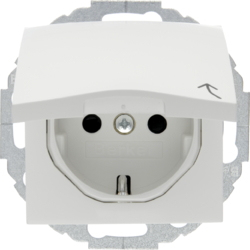 47448989 SCHUKO socket outlet with hinged cover enhanced contact protection,  Mounting orientation variable in 45° steps,  Berker S.1/B.3/B.7, polar white glossy