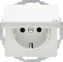 47466089 SCHUKO socket outlet with hinged cover Labelling field,  enhanced contact protection,  Mounting orientation variable in 45° steps,  polar white velvety