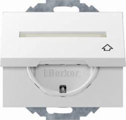 47487109 SCHUKO socket outlet with hinged cover Labelling field,  enhanced contact protection,  Mounting orientation variable in 45° steps,  Berker K.1, polar white glossy