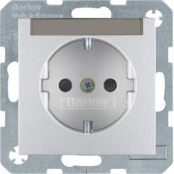 47491404 SCHUKO socket outlet with labelling field,  enhanced contact protection,  aluminium,  matt,  lacquered