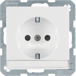 47496089 SCHUKO socket outlet with labelling field,  enhanced contact protection,  polar white velvety