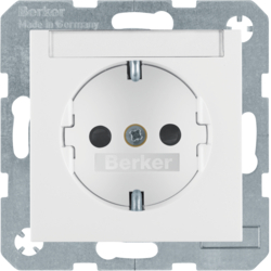 47498989 SCHUKO socket outlet with labelling field,  enhanced contact protection,  Berker S.1/B.3/B.7, polar white glossy