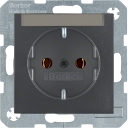 47501606 SCHUKO socket outlet with labelling field,  Berker S.1/B.3/B.7, anthracite,  matt
