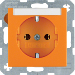 47501907 SCHUKO socket outlet with labelling field,  Berker S.1/B.3/B.7, orange matt