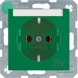 "47501913 SCHUKO socket outlet with ""SV"" imprint Labelling field,  Berker S.1/B.3/B.7, green matt"