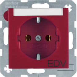 "47501915 SCHUKO socket outlet with ""EDV"" imprint Labelling field,  red matt"