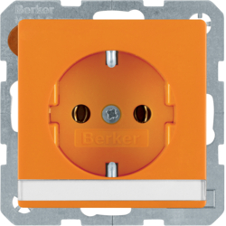 47506007 SCHUKO socket outlet with labelling field,  orange velvety