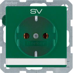 "47506013 SCHUKO socket outlet with ""SV"" imprint Labelling field,  green velvety"