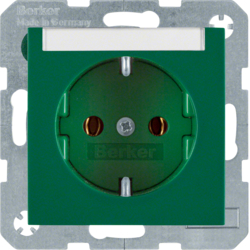 47508903 SCHUKO socket outlet with labelling field,  green glossy