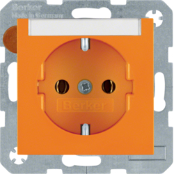 47508907 SCHUKO socket outlet with labelling field,  Berker S.1/B.3/B.7, orange glossy