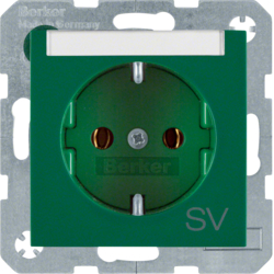 "47508913 SCHUKO socket outlet with ""SV"" imprint Labelling field,  Berker S.1/B.3/B.7, green glossy"