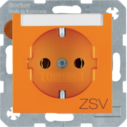 "47508914 SCHUKO socket outlet with ""ZSV"" imprint Labelling field,  Berker S.1/B.3/B.7, orange glossy"