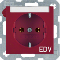 "47508915 SCHUKO socket outlet with ""EDV"" imprint Labelling field,  Berker S.1/B.3/B.7, red glossy"