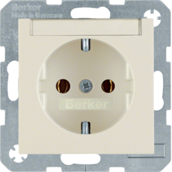 47508982 SCHUKO socket outlet with labelling field,  Berker S.1, white glossy
