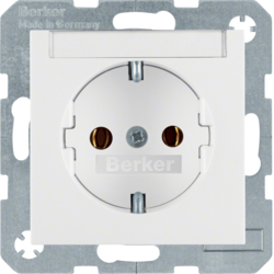 47508989 SCHUKO socket outlet with labelling field,  Berker S.1/B.3/B.7, polar white glossy