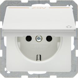 "47516049 SCHUKO socket outlet with hinged cover and ""ZSV"" imprint in orange polar white velvety"