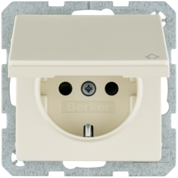 47516082 SCHUKO socket outlet with hinged cover with enhanced touch protection,  Berker Q.1/Q.3