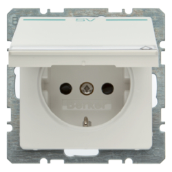 "47526039 SCHUKO socket outlet with hinged cover and ""SV"" imprint in green Labelling field,  enhanced contact protection,  Berker Q.1/Q.3, polar white velvety"