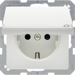 47526089 SCHUKO socket outlet with hinged cover Labelling field,  enhanced contact protection,  Berker Q.1/Q.3, polar white velvety