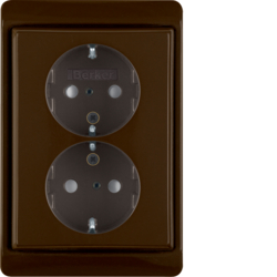 47530001 Double SCHUKO socket outlet with frame Berker Arsys,  brown glossy
