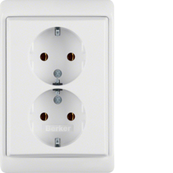 47530069 Double SCHUKO socket outlet with frame Berker Arsys,  polar white glossy
