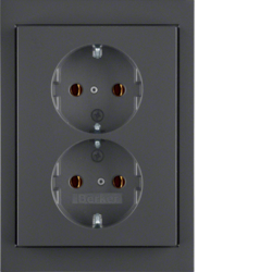 47537006 Double SCHUKO socket outlet with cover plate Berker K.1, anthracite matt,  lacquered