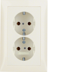47548982 Double SCHUKO socket outlet with cover plate Berker S.1, white glossy