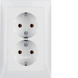 47548989 Double SCHUKO socket outlet with cover plate enhanced contact protection,  Berker S.1, polar white glossy