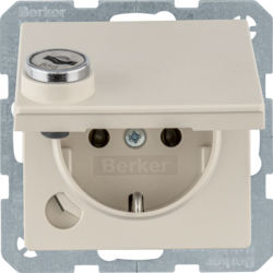 47636082 SCHUKO socket outlet with hinged cover Lock - differing lockings,  Berker Q.1/Q.3/Q.7/Q.9