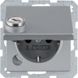 47636084 SCHUKO socket outlet with hinged cover Lock - differing lockings,  Berker Q.1/Q.3/Q.7/Q.9, aluminium,  matt,  lacquered