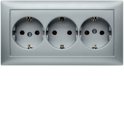 47661939 3gang SCHUKO socket outlet with cover plate Berker S.1, aluminium matt,  lacquered