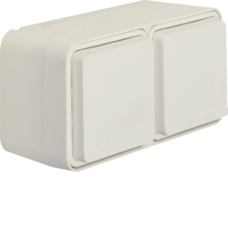 47843512 SCHUKO socket outlet 2gang horizontal with hinged cover surface-mounted Berker W.1, polar white matt