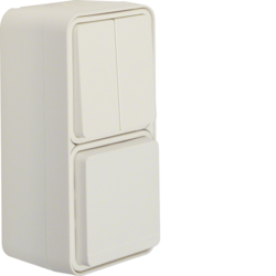 47903512 Combination series switch/SCHUKO socket outlet with hinged cover surface-mounted Berker W.1, polar white matt