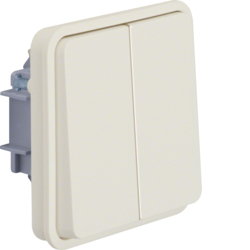 50423512 Series push-button insert,  2 NO contacts with rocker 2gang surface-mounted/flush-mounted common input terminal Berker W.1, polar white matt