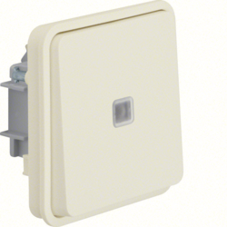 50463522 Push-button insert,  change-over contact,  illuminated surface-mounted/flush-mounted with lens,  Berker W.1, polar white matt