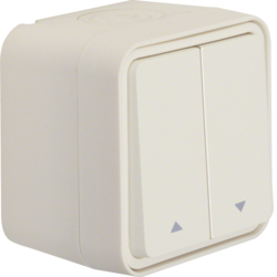 50753502 Blind series push-button with imprinted symbol arrow surface-mounted Berker W.1, polar white matt